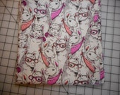 Flannel receiving blanket - llamas, pink and peach bandanas and glasses, large size, 40 quot x 43 quot