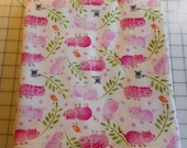 Flannel receiving blanket - pigs, mice and birds - large size 41 quot x 43 quot