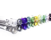 Clear One Hitters with Color Lip Wrap - Made to Order - 12 Colors - Chillum - Borosilicate Glass - Made in USA
