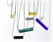 Handmade 8mm Colored Glass Tube Pendants - 11 Colors - Choose from 1 to 2 inches - Made in USA
