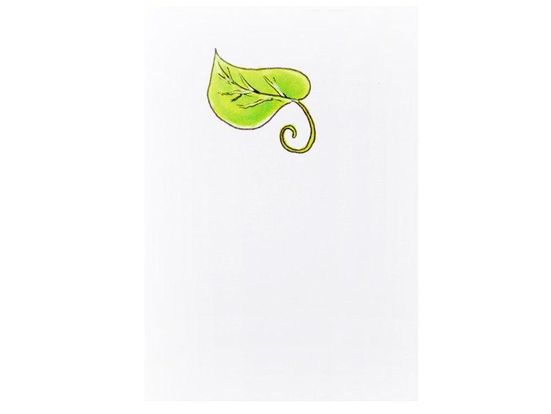 Handmade Miniature Greeting Card  Green Leaf  3.75 x 2.75  image 0