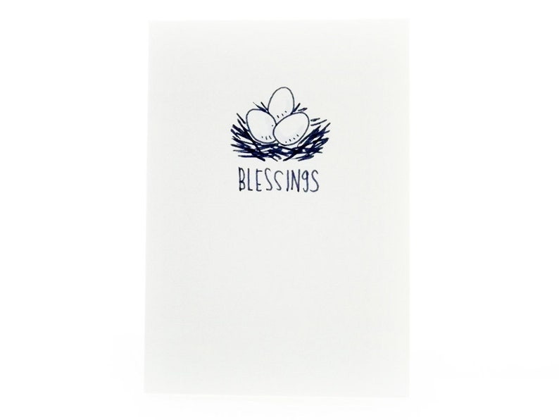 Handmade Miniature Greeting Card  Blessings  3.75 x 2.75  image 0