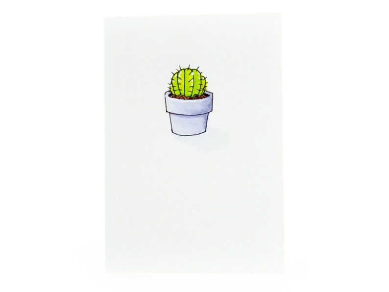 Handmade Miniature Greeting Card  Potted Cactus  3.75 x 2.75 image 0