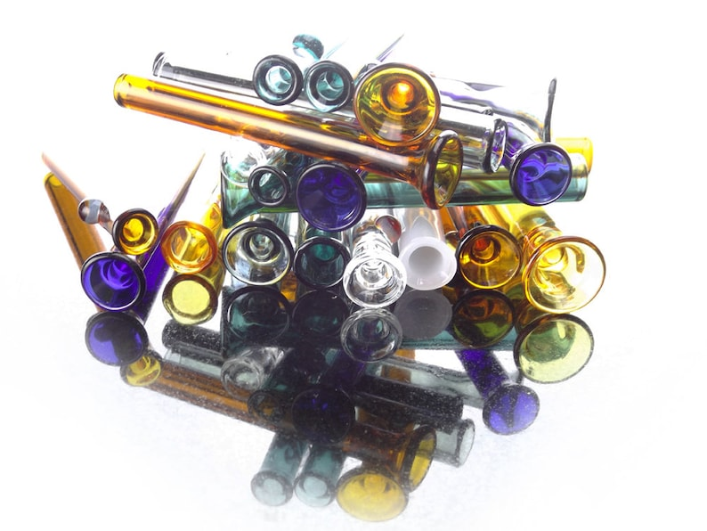 Wholesale Tiny Assorted Clear & Colored One Hitters / Chillums image 0