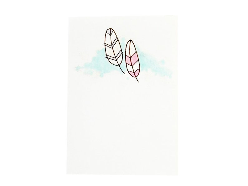 Handmade Miniature Greeting Card  Two Feathers  3.75 x 2.75 image 0