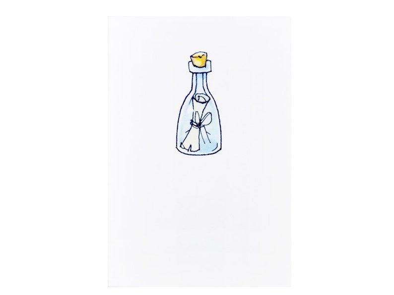 Handmade Miniature Greeting Card  Message in a Bottle  3.75 image 0
