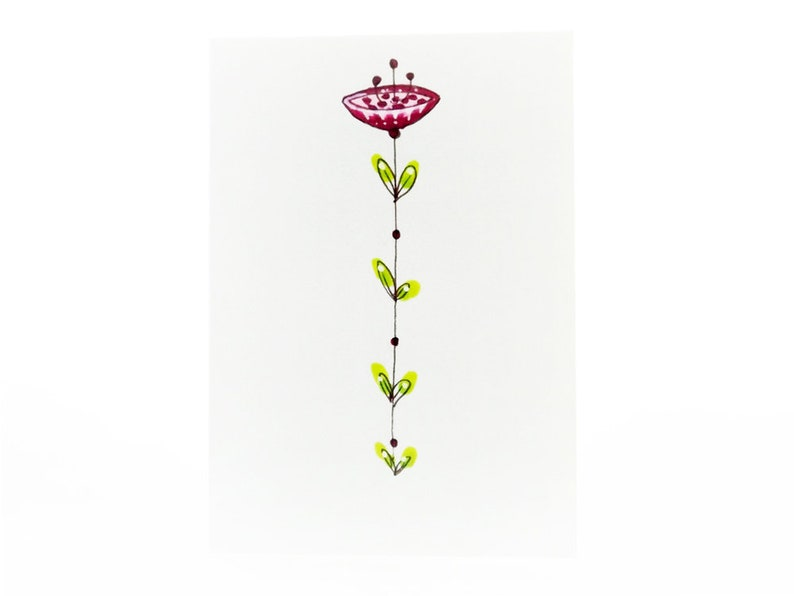 Handmade Miniature Greeting Card  Flower  3.75 x 2.75  image 0