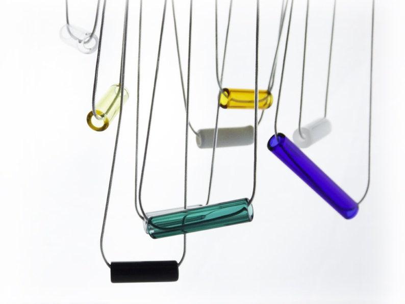Handmade 8mm Colored Glass Tube Pendants  11 Colors  Choose image 0
