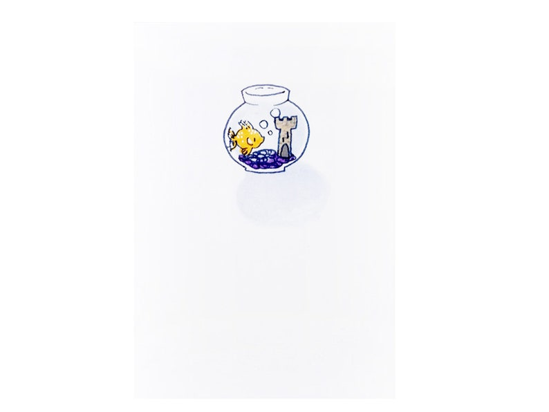 Handmade Miniature Greeting Card  Gold Fish Bowl  3.75 x image 0