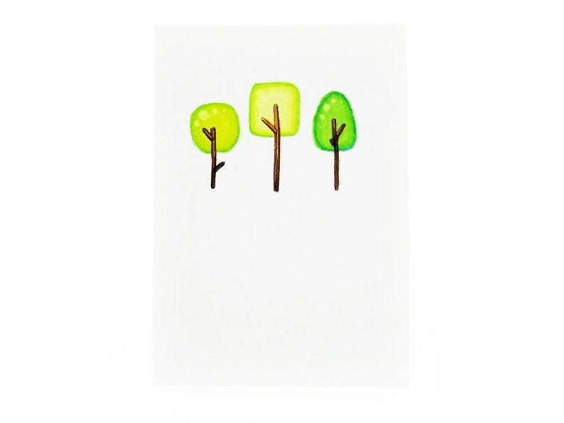 Handmade Miniature Greeting Card  Three Little Trees  3.75 x image 0