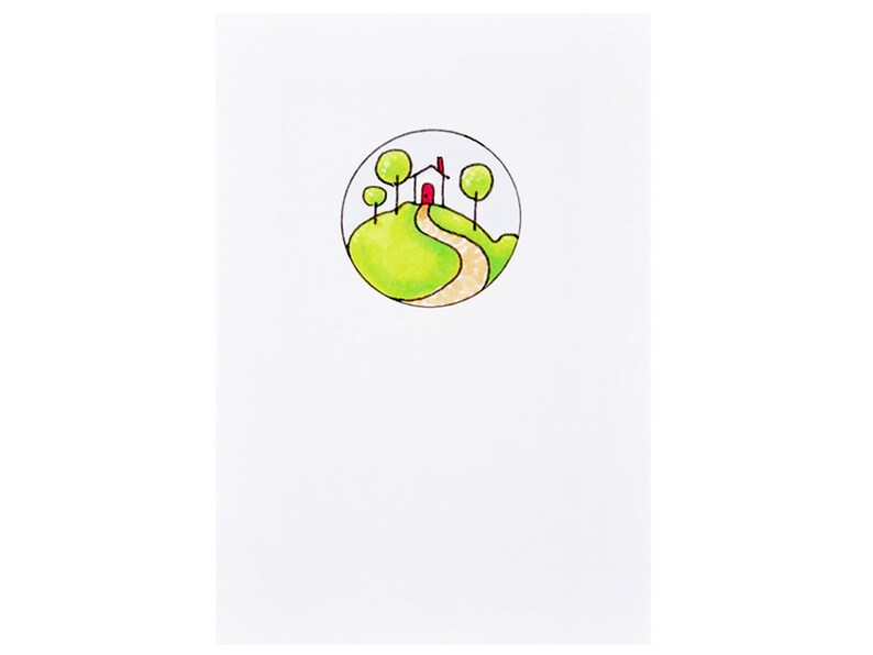 Handmade Miniature Greeting Card  House on Green Hill  3.75 image 0