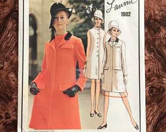 A Line Dress Vintage 1960s Vogue 1772 Pattern Side Front Flap Buttoned Pockets. Shoulder Yoke Front Fly Down Front Shirt Collar