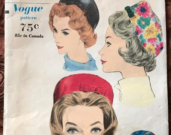 """1960's Vogue Pattern # 5352  - Pillbox Hat Designed by Sally Victor - Head Size 21 1/2"""""""