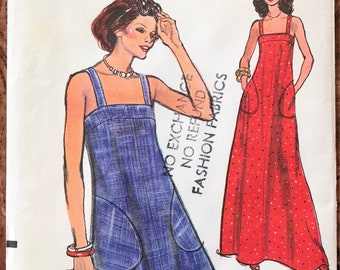 1970's Vogue Pattern # 8893 - UNCUT - Square Neck Sundress - Knee or Maxi Length, Straight Yoke, Big Pockets - Size 12, Bust 34""