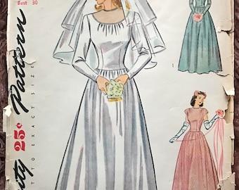 1940's Simplicity UNCUT Pattern # 1321 - Wedding Gown - Bridesmaid, Evening Dress - Dropped Waist, Illusion Neckline - Size 12, Bust 30