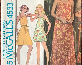 McCall s 1970 s Halter Dress Pattern   4533 - UNCUT - Butcher Apron Styling  - Maxi 6aaa292e4