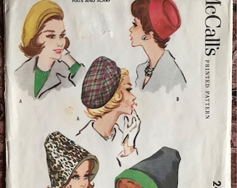 1960's McCall's Pattern # 2416 - UNCUT- Hats in 3 Styles w/ Coordinating Wrap Scarf - Pillbox, Wide Beret, Reversible Cone - Head Size 23""