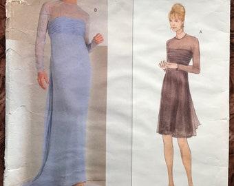 Vogue American Designer Pattern # 2066 - Oscar de la Renta UNCUT - Party Dress in 2 Lengths w/ Shirred Bodice, Back Drape - Size 8, 10, 12