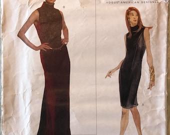 Vogue American Designer Pattern # 2021 - Oscar de la Renta UNCUT - Floor or Knee Length Dress, High Neck Sleeveless Sheath - Sizes 8, 10, 12