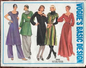 1970 s Vogue s Basic Design Pattern   1543 - UNCUT Peasant Dresses 3c325193c