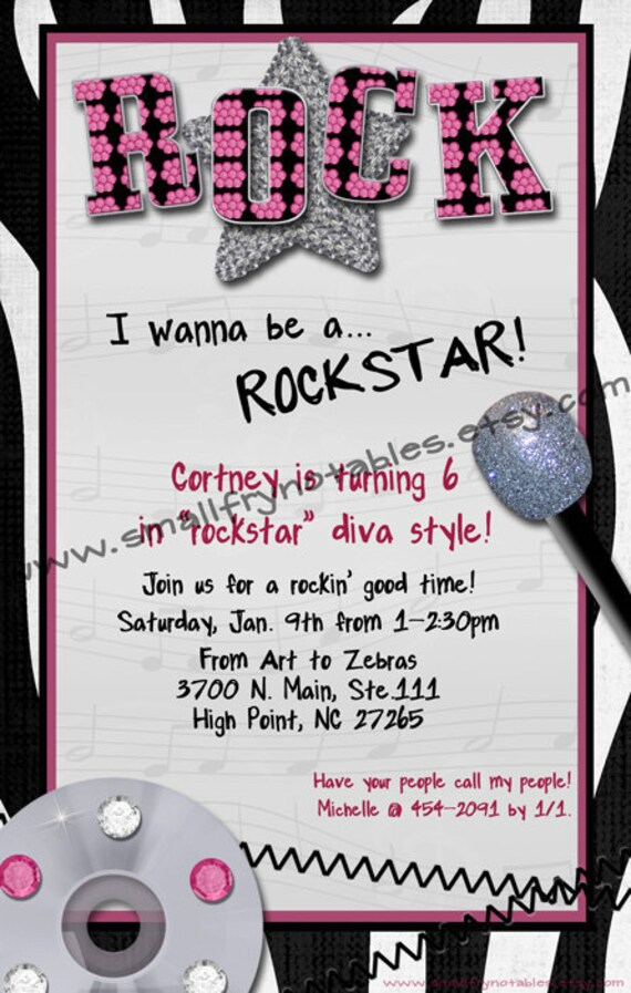 Rockstar Diva Girls Party Custom Printable Invitation By