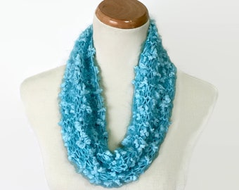 Mini Cowl, Aqua Cowl, Hand Knit Cowl, Knit Cowl, Women's Cowl, Girls Cowl, Gift For Her, Knit Scarf, Loop Scarf,