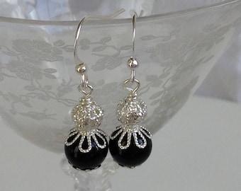 Black And Silverl Bridal Bridesmaid Earrings