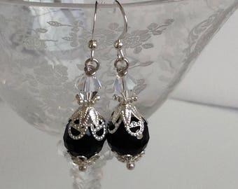 Black Crystal Bridal Bridesmaid Earrings
