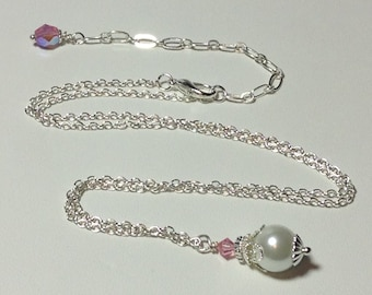 Pink Rose and Whte Pearl Bridesmaid Necklace
