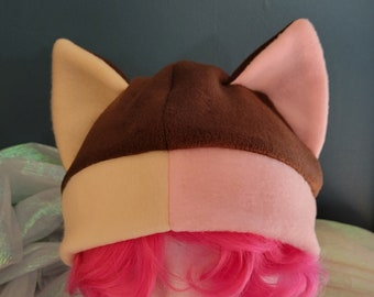 Ice Cream Sandwich Cat Ear Fleece Hat Two Sizes