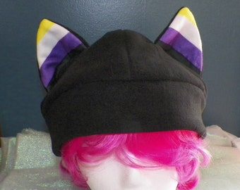 X-Large Cat Ear Fleece Hat Non-Binary Pride