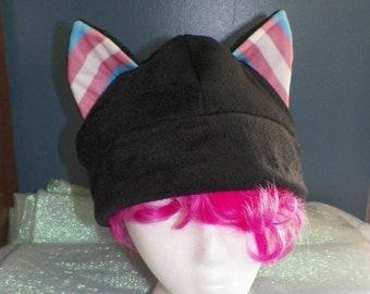 X-Large Cat Ear Fleece Hat Transgender Pride