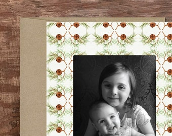 Pinecones Custom Printed Photo Card Personalized Holiday Card Christmas Card Photo