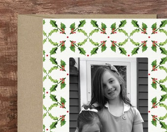 Holly Custom Printed Photo Card Personalized Holiday Card Christmas Card Photo