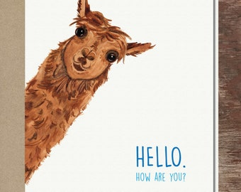 Llama Alpaca Thinking of You Love You Friendship Miss You Get Well Soon Greeting Card
