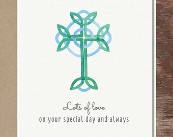 Cross Baptism First Communion Confirmation Catholic Christian Wedding Greeting Card Blue Green