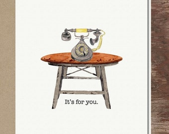 Quirky Retro Vintage Telephone Rotary Phone Thinking of You Love You Friendship Miss You Get Well Soon Greeting Card