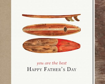Surfing Card Surfer Dad Father's Day Card Surfboard Card