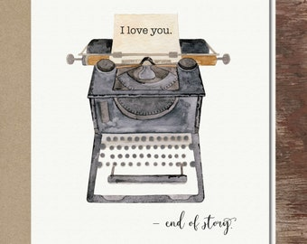 Typewriter I Love You Anniversary Thinking of You Valentine's Day Greeting Card