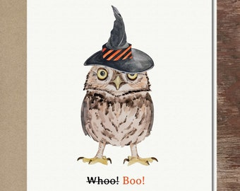 Owl Witch Hat Halloween Greeting Card