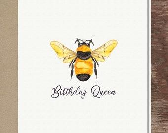 Queen Bee Birthday Card Bumblebee Greeting Card