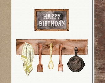 Birthday Dinner Chef Birthday Card Foodie Card Cooking Card Card for Friend