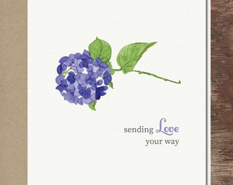 Hydrangea Floral Flowers I Love You Miss You Thinking of You Sympathy Greeting Card