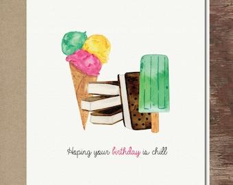 Ice Cream Cone Chill Cute Quirky Friend Girl Birthday Greeting Card