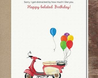 Belated Birthday Vespa Birthday Card Scooter Card Cute Greeting Card
