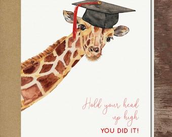 Giraffe Graduation Greeting Card