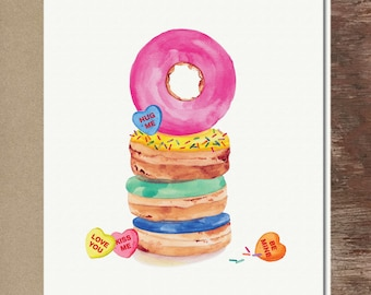 Donuts Conversation Hearts Candy Valentine's Day Card Love Anniversary Greeting Card