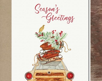 Woodie Station Wagon Wooden Sleds Merry Christmas Card Happy Holidays Card Greeting Card