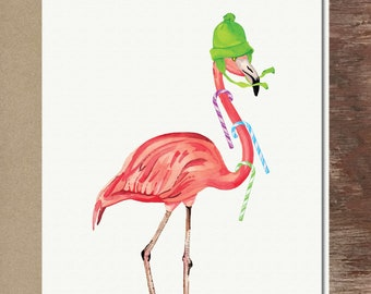 Candy Cane Flamingo Christmas Holiday Thank You Greeting Card