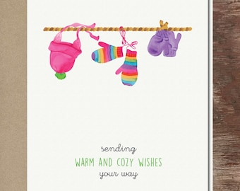 Rainbow Mittens & Hats Christmas Holiday Winter Greeting Card